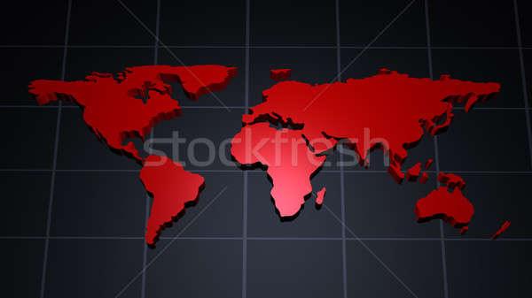 Moderno mappa del mondo rosso piastrellato meridiano mondo Foto d'archivio © Amaviael