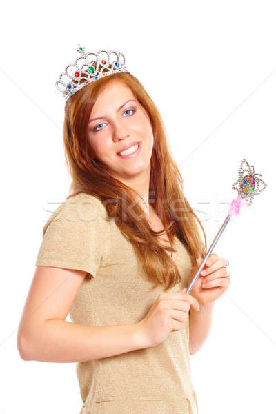 Attractive young woman holding a magic wand Stock photo © Amaviael