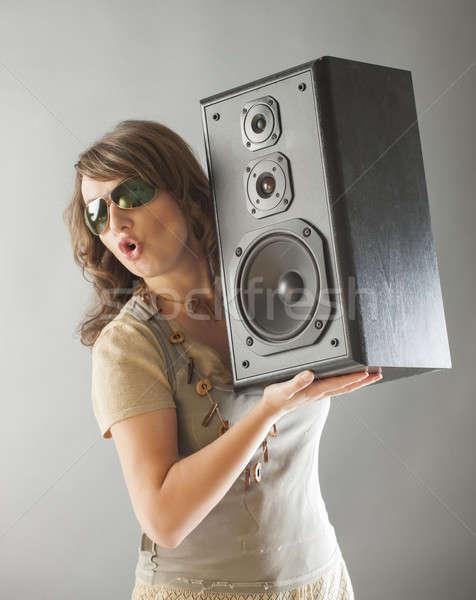 Bela mulher grande alto-falante jovem Foto stock © Amaviael