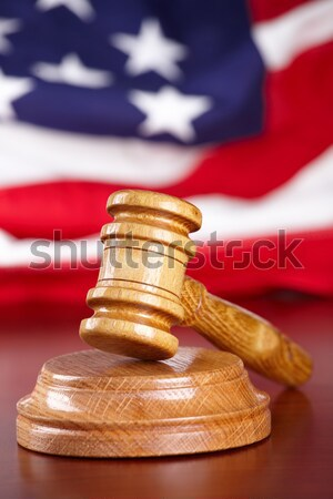 Stock photo: Judges gavel with  old paper