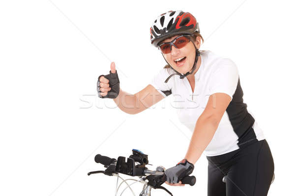 Photo stock: Fille · cycliste · jeune · femme · vélo · isolé