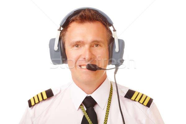 Légitársaság pilóta visel egyenruha profi headset Stock fotó © Amaviael