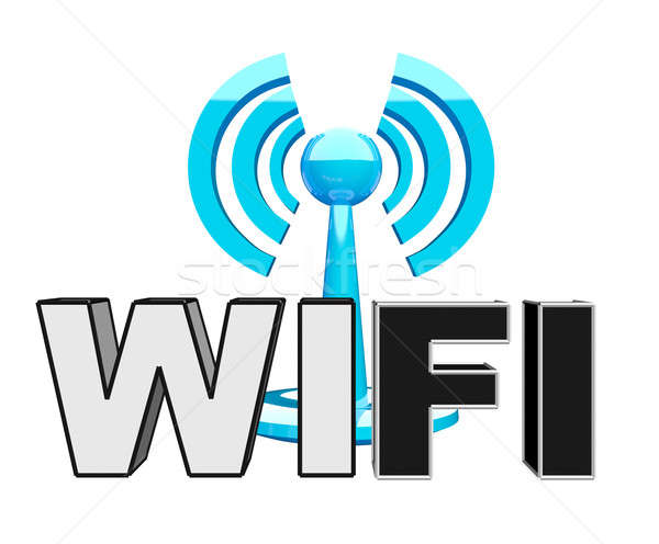 Stock photo: Wifi (wireless) blue modern icon