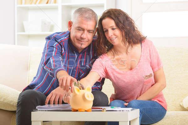 Casal dinheiro feliz negócio Foto stock © Amaviael