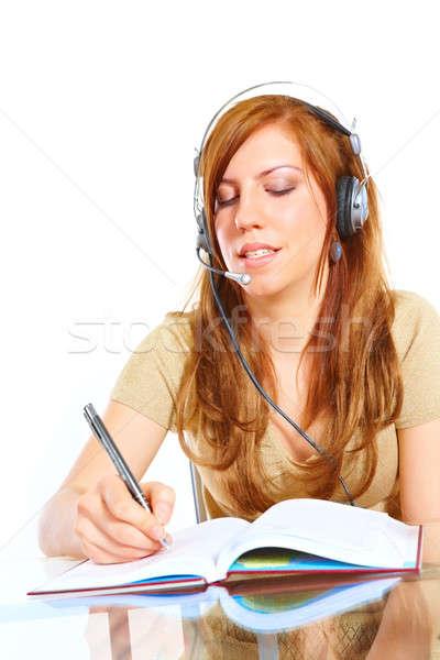 Estudante menina fones de ouvido aprendizagem estrangeiro Foto stock © Amaviael