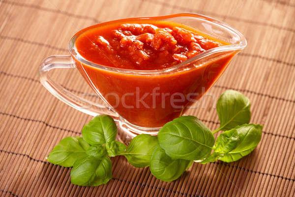 Domates sosu İtalyan makarna taze fesleğen gıda Stok fotoğraf © Amaviael