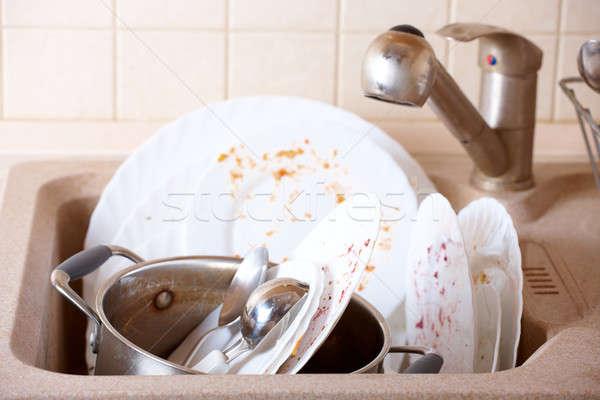 Sucia platos como placas olla Foto stock © Amaviael