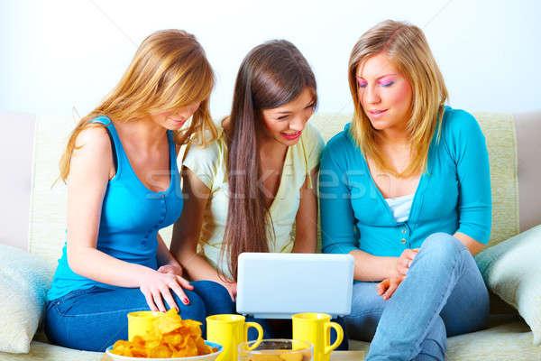 美しい 女の子 ノートパソコン 3  幸せ 友達 ストックフォト © Amaviael