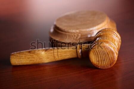 Stockfoto: Hamer · oud · papier · houten · woord · recht · papier