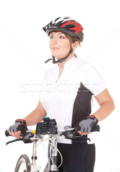 Foto stock: Nina · ciclista · moto · aislado