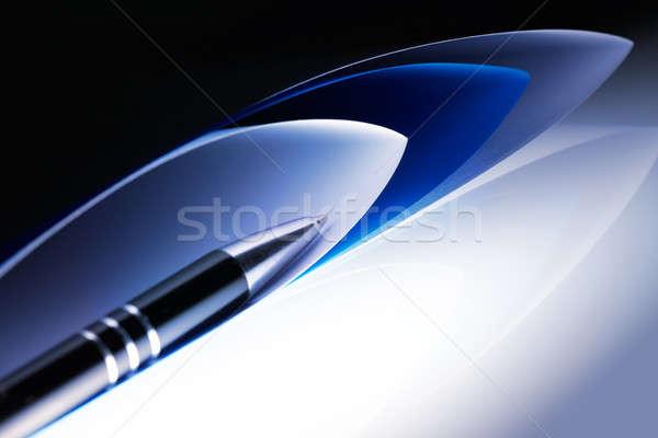 Photo stock: Stylo · or · papier · fond · éducation · bleu