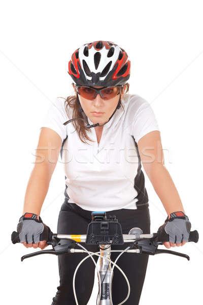 Stock fotó: Lány · kerékpáros · fiatal · nő · motoros · bicikli · izolált
