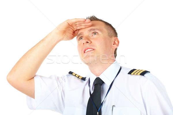 Linia lotnicza pilota patrząc wesoły uniform Zdjęcia stock © Amaviael