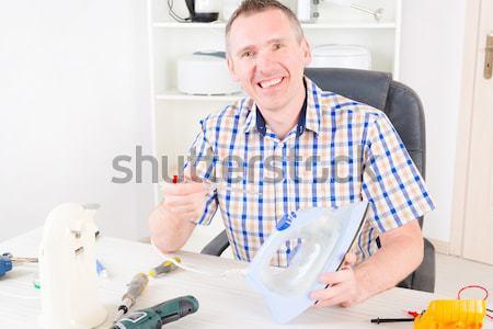 Architect vergadering kantoor werken veiligheidshelm plannen Stockfoto © Amaviael