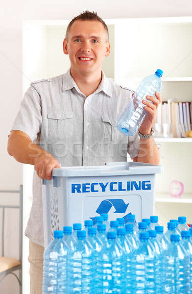 Stock photo: Recycling Man With Bottles