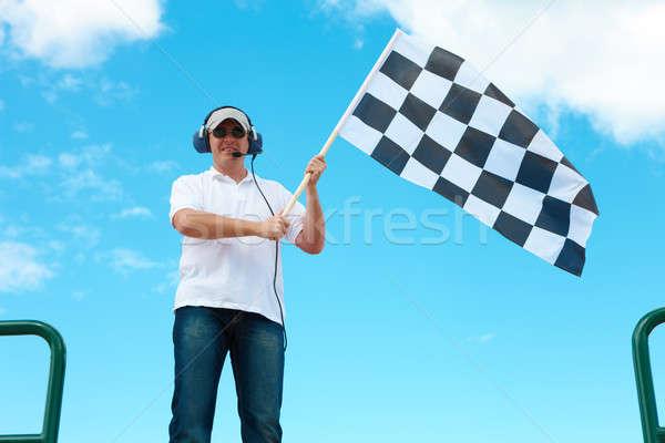 Hombre bandera auricular Foto stock © Amaviael