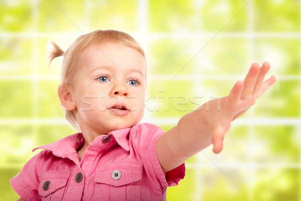 Aranyos kislány valami portré zöld ablak Stock fotó © Amaviael