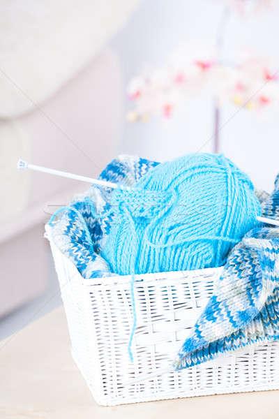 Foto stock: Costura · cesta · pelota · hilados