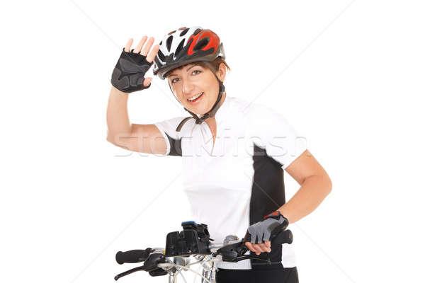 Lány kerékpáros fiatal nő motoros bicikli izolált Stock fotó © Amaviael