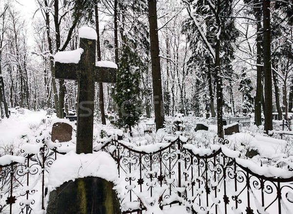 Old cemetery in wintertime Stock photo © amok