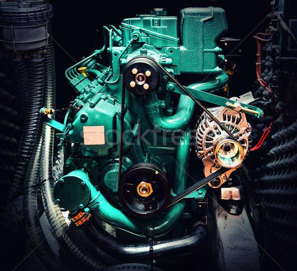 Közelkép csónak motor szív fém ipar Stock fotó © amok