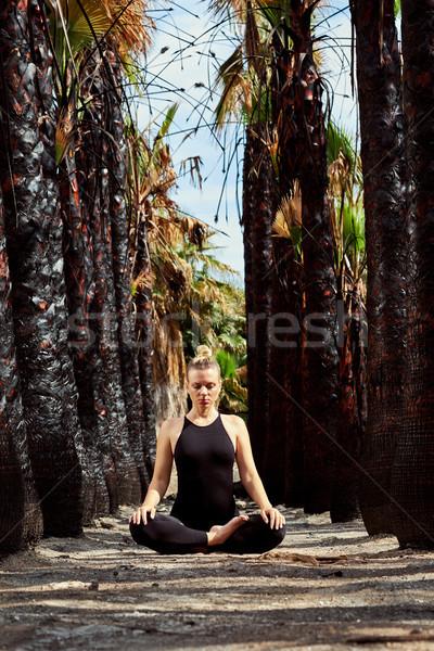 Young beautiful woman doing meditation in nature Stock photo © amok