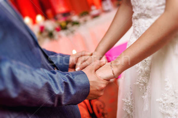Bride and groom holding hands  Stock photo © amok