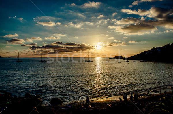 Cala d'Hort Beach at sunset. Ibiza Stock photo © amok