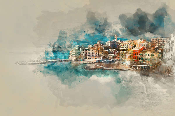 Digital watercolor painting of Bogliasco. Italy Stock photo © amok