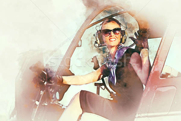 Woman pilot sitting in the helicopter. Digital art Stock photo © amok