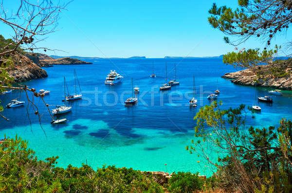 Sailboats at Cala Salada lagoon. Ibiza, Spain Stock photo © amok