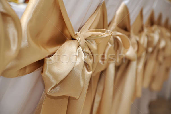 Mariage chaises blanche décoré or arcs Photo stock © amok