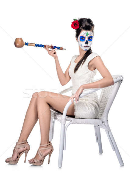 Day of the dead girl with sugar skull make-up isolated on white Stock photo © amok
