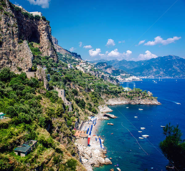 Amalfi Coast. Stunning landscape with hills and Mediterranean sea Stock photo © amok