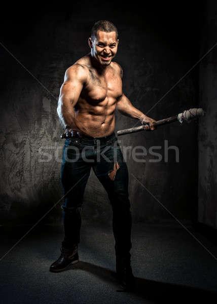 Muscular hombre antorcha deporte cuerpo Foto stock © amok