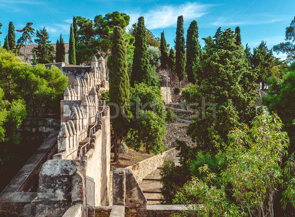 Erőd Malaga város Spanyolország fal természet Stock fotó © amok