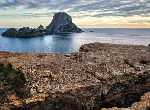 Es Vedra island at sunset. Ibiza Island, Balearic Islands. Spain Stock photo © amok