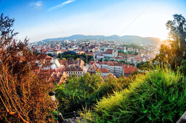 View of Graz city from Schlossberg in summertime  Stock photo © amok