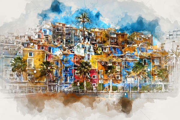 Villajoyosa skyline. Spain, digital watercolor painting  Stock photo © amok