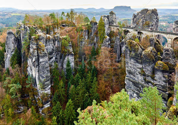 Picturesque view of Bastei Bridge, Germany Stock photo © amok