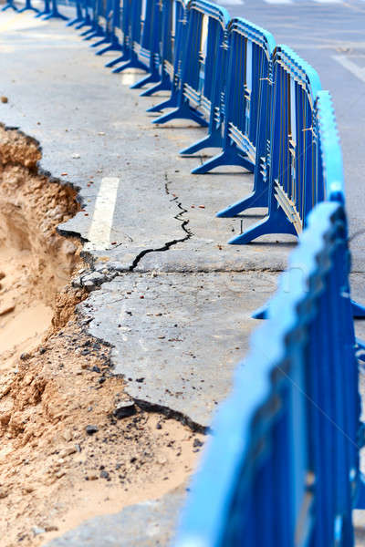 разрушенный асфальт дороги Storm улице песок Сток-фото © amok