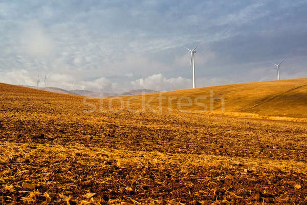 Stock photo: Windmills and beautiful landscape. Spain at winter