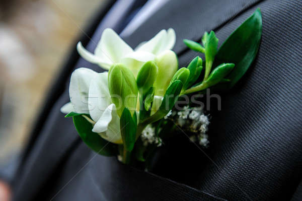 Stockfoto: Knoopsgat · bloem · man · zwarte · huwelijk · witte