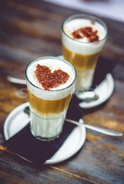 Cappuccino chocolat coeur bois café verre Photo stock © amok