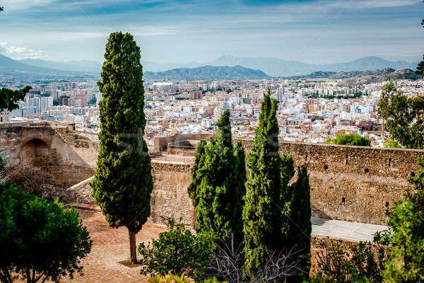 Erőd Malaga város Spanyolország fák tégla Stock fotó © amok