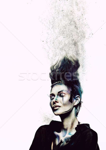 Woman with creative make-up and body-art Stock photo © amok