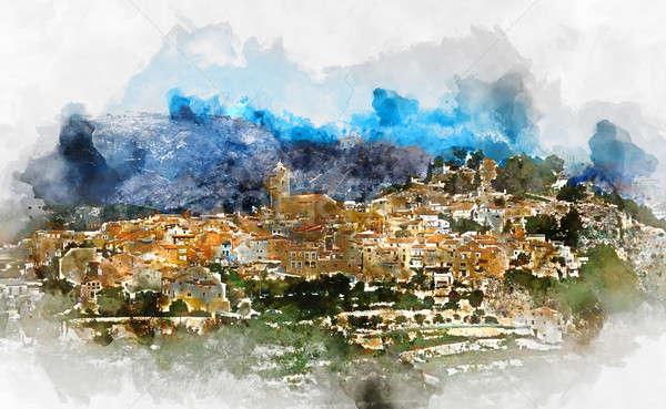 La marina village Espagne numérique couleur pour aquarelle Photo stock © amok