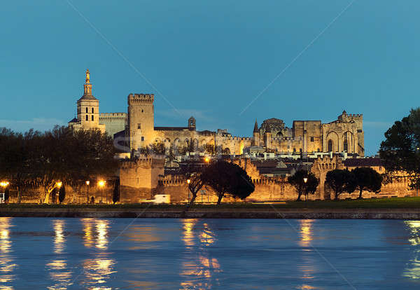 Avignon skyline. Riverside view of The Papal Palace at night Stock photo © amok