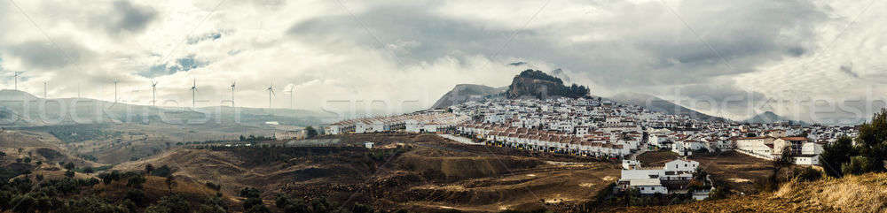 Panoramic view of White village and surrounding countryside. Cos Stock photo © amok