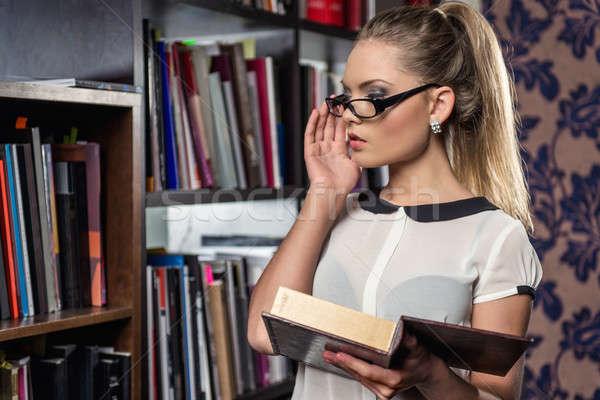 женщины студент библиотека книга девушки Сток-фото © amok